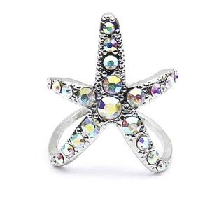Jewelry - Colorful Crystal Starfish Ring silver